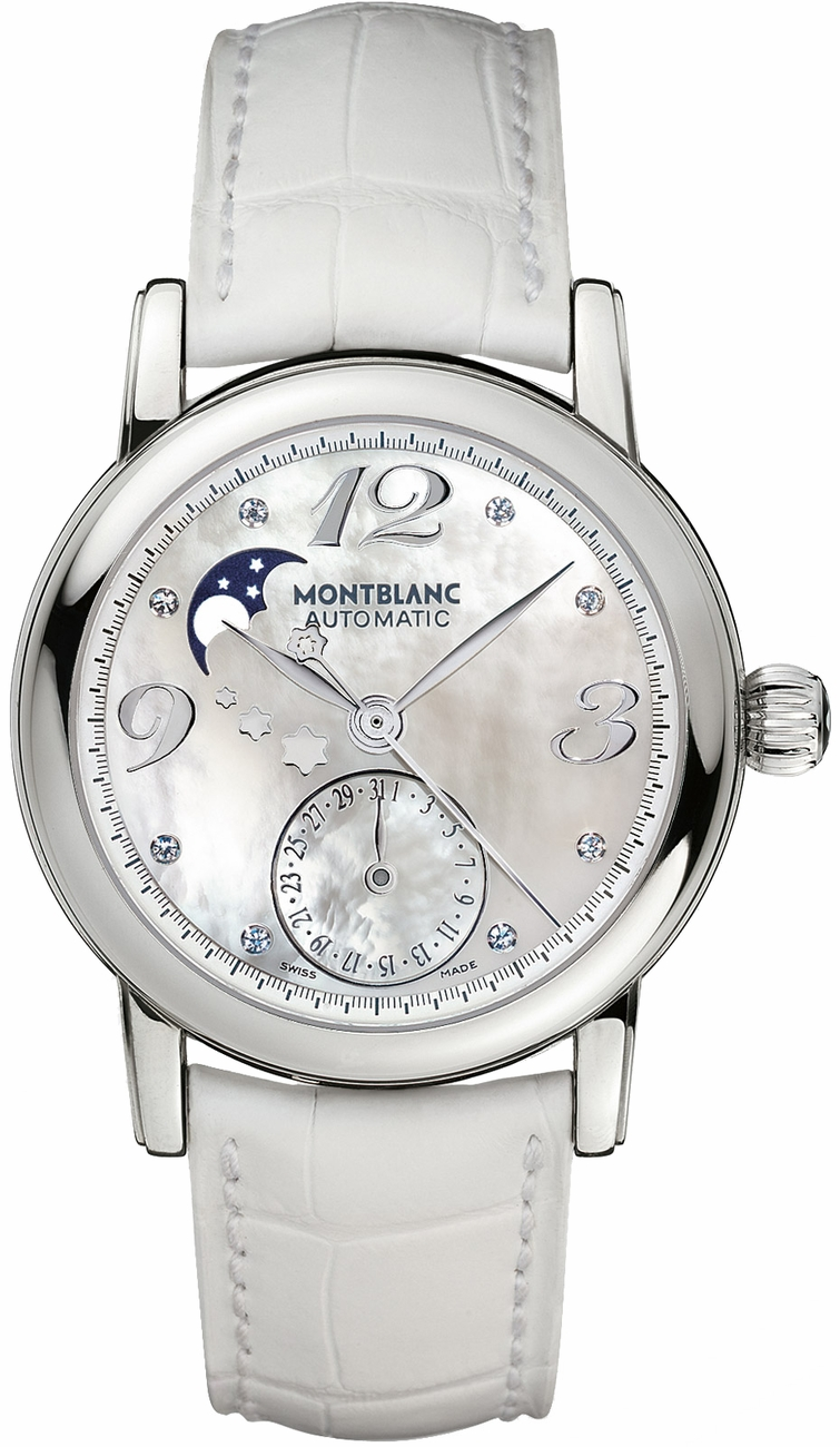 103111 montblanc star chronograph moonphase white mother for Montblanc house