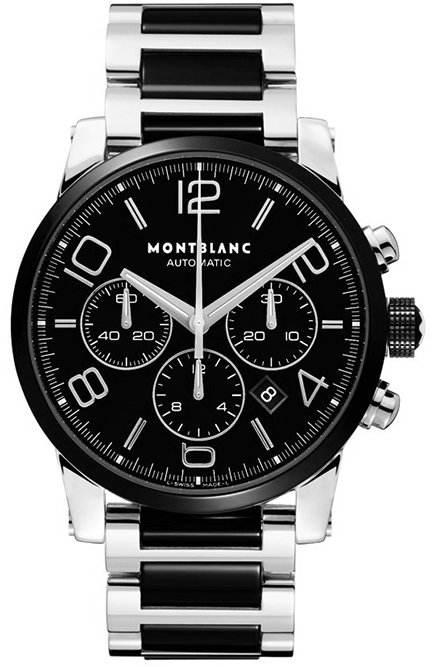 103094 montblanc timewalker chronograph mens ceramic steel watch for Montblanc watches