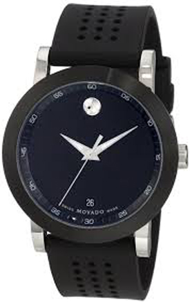 0606507 Movado Museum Black Dial Steel Case And Rubber