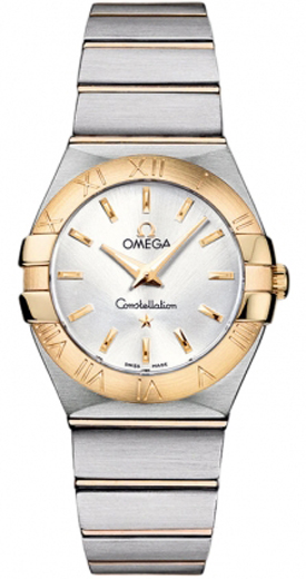 omega constellation ladies silver dial gold steel watch. Black Bedroom Furniture Sets. Home Design Ideas