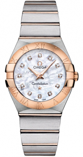 omega constellation ladies white mother of pearl diamond watch. Black Bedroom Furniture Sets. Home Design Ideas