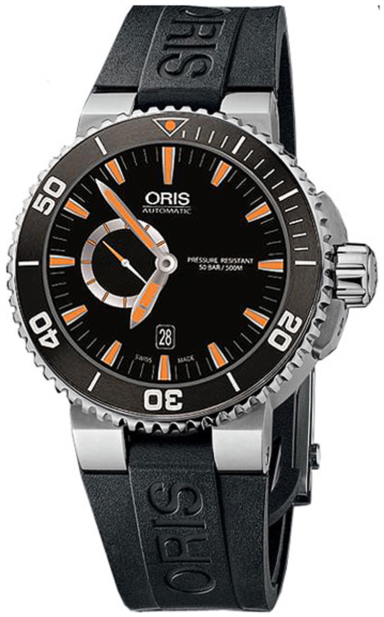Oris Mens Aquis Small Second Date Black Dial Steel Case