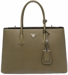 Prada Saffiano Cuir Large Twin Tote Bag