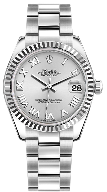 Rolex datejust 31mm steel fluted bezel oyster bracelet silver dial 178274 watch for Rolex date just 31