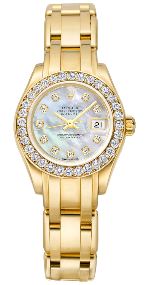80298 rolex datejust pearlmaster white mother of pearl diamond dial ladies watch for Rolex pearlmaster