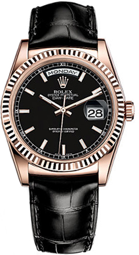 118135 blksl rolex day date 36 black dial watch for Rolex day date 36