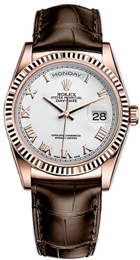 118135 whtrl rolex day date 36 white dial watch for Rolex day date 36