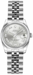 Rolex Lady-Datejust 26 Silver Roman Numeral Dial Steel Watch 179160