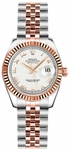 Rolex Lady-Datejust 26 White Roman Numeral Jubilee Bracelet Watch 179171