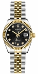 Rolex Lady-Datejust 26 Black Dial Women's Watch 179173