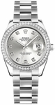 Rolex Datejust 31 Silver Diamond Oyster Bracelet Watch 178384