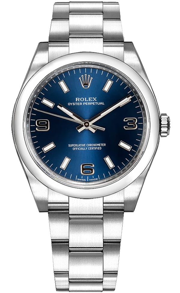 114200 Rolex Oyster Perpetual Blue Dial Men S Watch