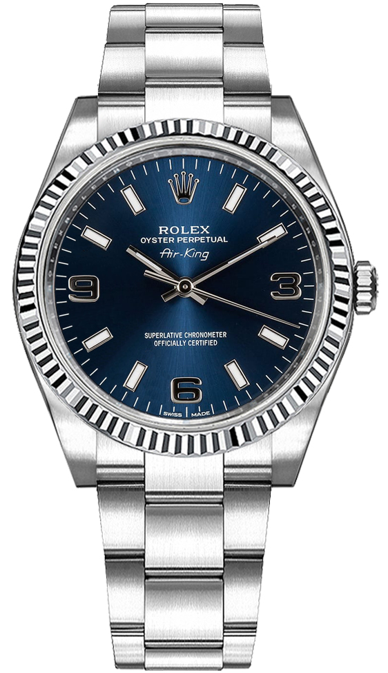 114234 Rolex Blue Men S Oyster Perpetual Air King Watch