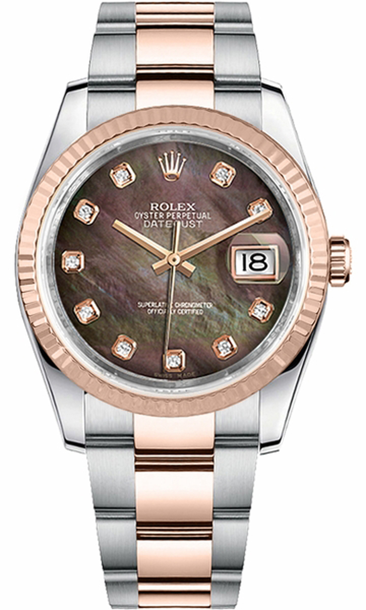 116231 rolex datejust oyster perpetual 2 tone watch mop dial automatic watch for Rolex date just 36