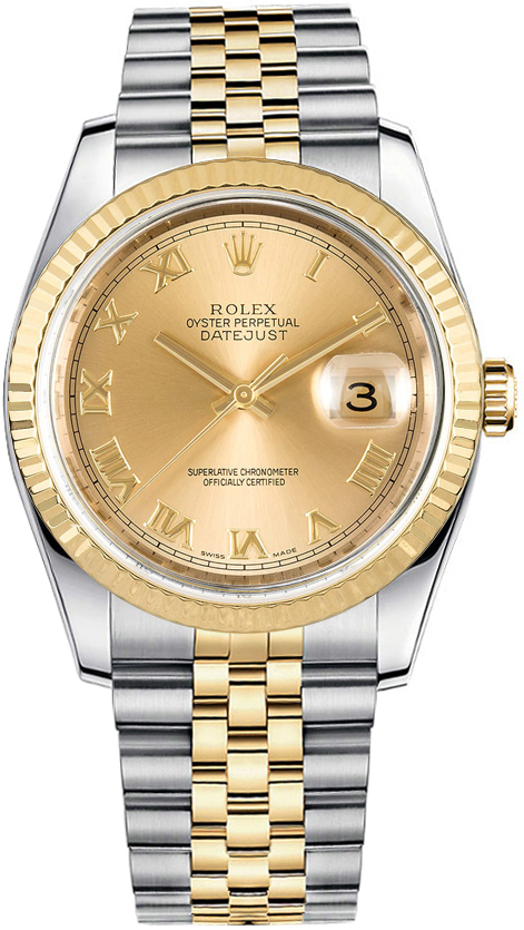 116233 Rolex Oyster Perpetual Datejust 18k Yellwo Gold Men