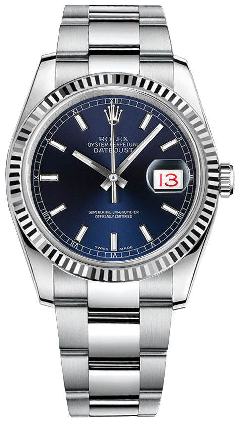 Discounted Rolex Datejust 116234 Blue Index Dial Mens Watch