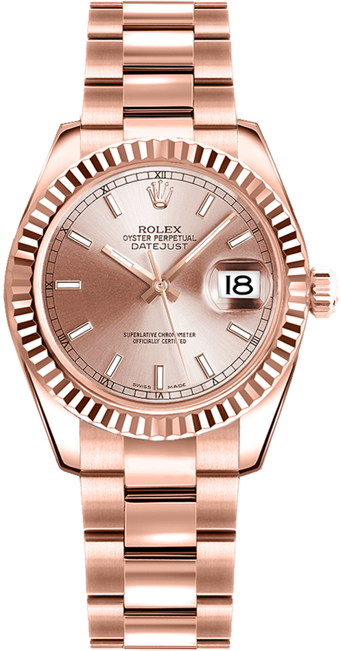 rolex oyster perpetual datejust lady 178275 womens fluted bezel rose gold watch brand new. Black Bedroom Furniture Sets. Home Design Ideas