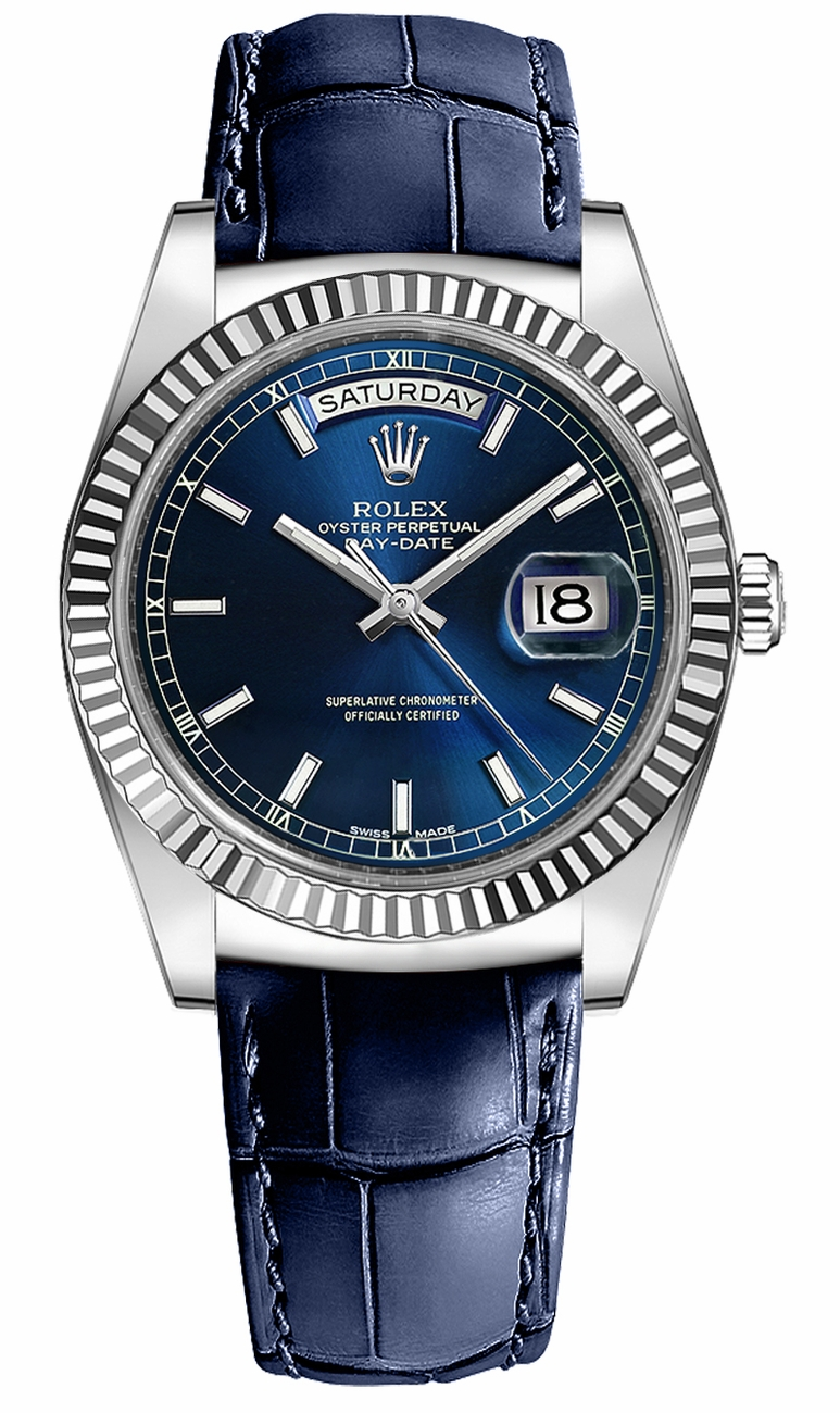 Breitling Watches Price >> 118139 Rolex Day-Date 36 Blue Index Dial