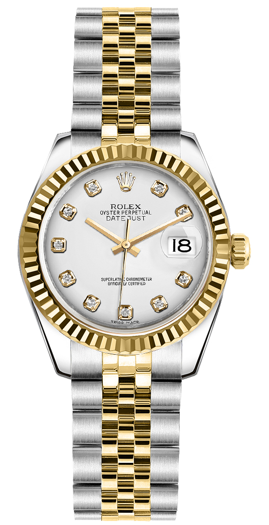 Rolex Lady-Datejust 26 White Diamond Jubilee Bracelet Watch 179173