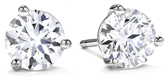 Image of 1.0 TCW Diamond Brilliant-Cut Stud Solitaire White Gold Earrings