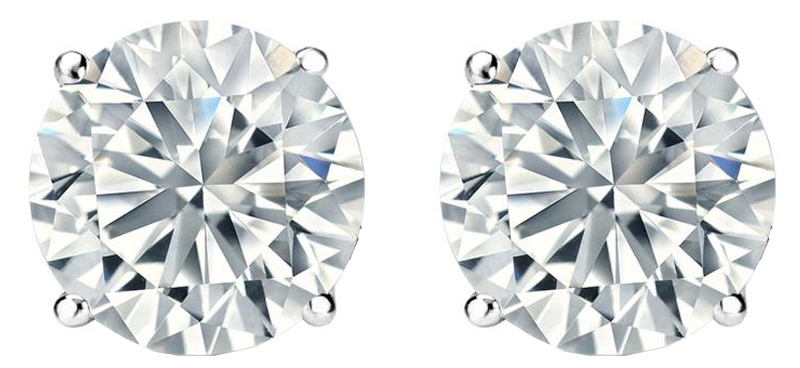 Image of 1.0 TCW Diamond Stud Solitaire White Gold Earrings 3PE100WG