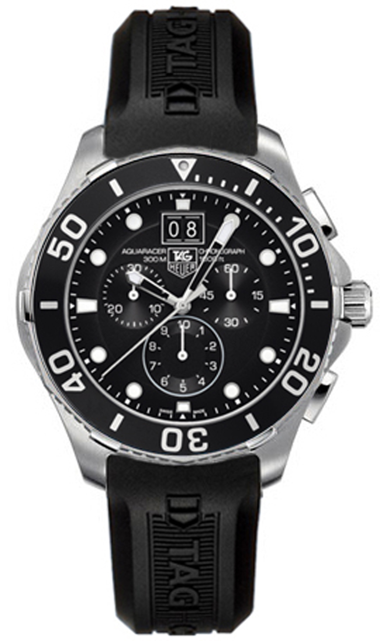 Can1010 ft8011 tag heuer aquaracer black chronograph dial mens watch for Tag heuer chronograph