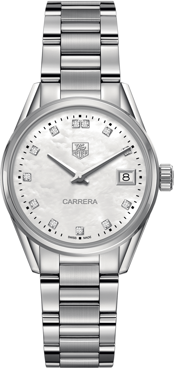 War1314 ba0778 tag heuer carrera womens 32mm diamond pearl automatic watch brand new for Pearl watches