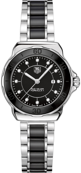 Wah1314 ba0867 tag heuer formula one diamonds ladies black ceramic watch for Tag heuer women