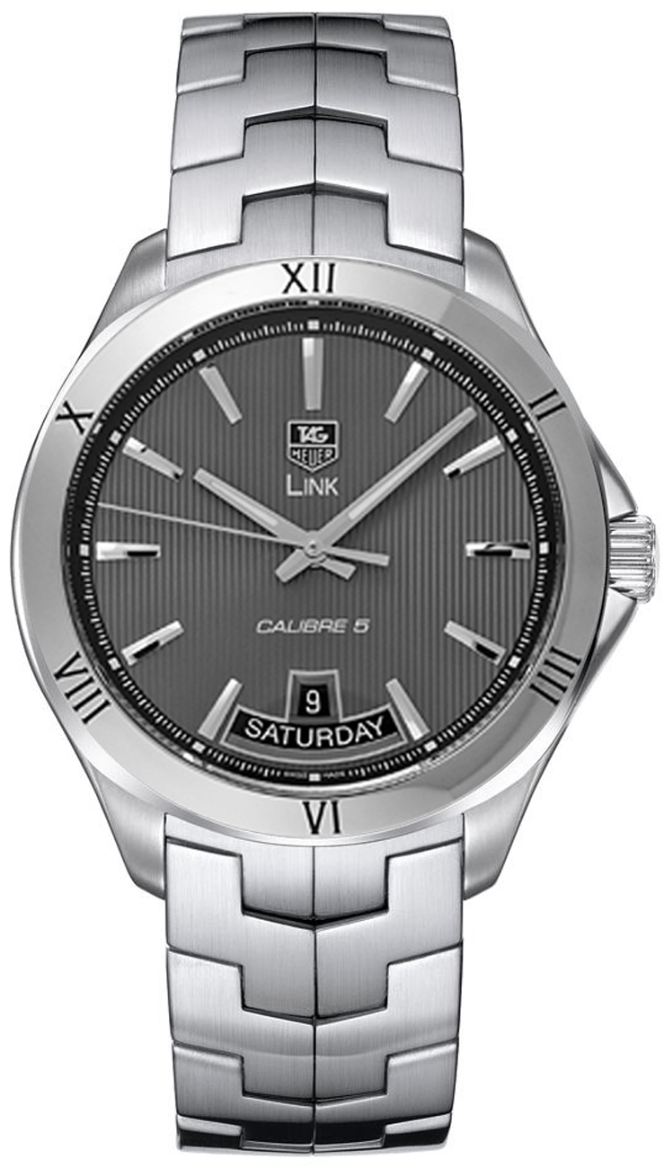 Wat2015 ba0951 tag heuer link mens 42mm automatic day date watch brand new for Tag heuer d link