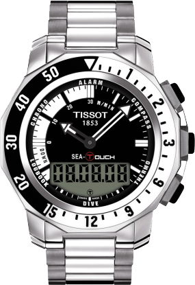 t026 420 11 051 00 tissot sea touch black dial mens watches free rh authenticwatches com T-Touch Expert Titanium Tissot Sea Touch Watch