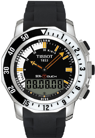 t026 420 17 281 00 tissot sea touch black dial mens watch free rh authenticwatches com T-Touch Expert Titanium Tissot Sea Touch Watch