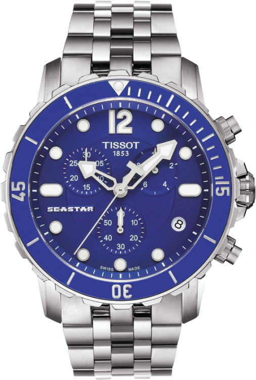 Tissot quartz seastar 1000 stainless steel blue dial gents for Celebrity tissot watches