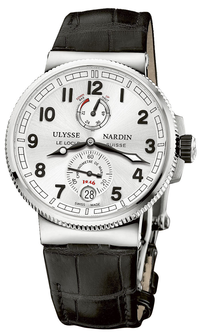 1183 126 61 ulysse nardin marine chronometer manufacture stainless steel silver dial leather watch for Marine watches