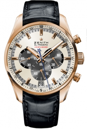 zenith el primero striking 10th chronograph automatic mens rose gold watch. Black Bedroom Furniture Sets. Home Design Ideas