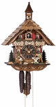 1 Day Chalet Black Forest Cuckoo Clock with Bell Tower and Woodsman by H�nes