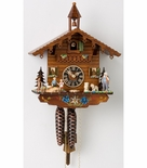 1 Day Chalet Black Forest Cuckoo Clock with Old Man and Dog by Hones