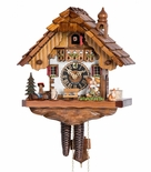 1 Day Chalet Black Forest Cuckoo Clock with Young Kissing Couple by Hones