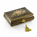 A Beautiful Single Rose Inlay Sorrento Musical Jewelry Box - 22NOTE