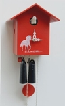 "VDS Certified Modern Twist 1 Day Red Art Cuckoo Clock by Rombach and Haas (Extra 20% Off Sale Price - Code ""romba20"")"