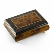 Alluring Neutral Tone Classic Modern Music Box with Rosewood Frame