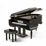 Amazing 18 Note Miniature Musical Hi-Gloss Black Grand Piano with Bench