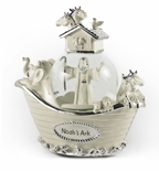 Amazing Ivory and Silver Noah's Ark Musical Snow Globe