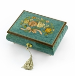 Beautiful 18 Note Turquoise Floral Inlay Musical Jewelry Box with Lock and Key