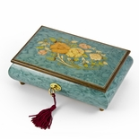 Beautiful 30 Note Turquoise Floral Inlay Musical Jewelry Box with Lock and Key