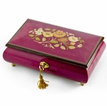 Beautiful 36 Note Red-Wine Floral Inlay Musical Jewelry Box with Lock and Key