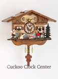 Black Forest Quartz Chalet Style Clock with Town Folk