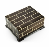 Brilliant Wood Tone Modern Masonry Design 50 Note Reuge Music Box