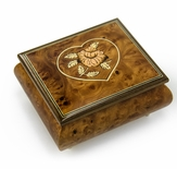 Charming Burl-Walnut Flower in Heart Outline Sorrento Musical Jewelry Box