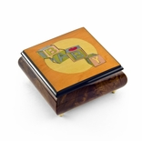 Colorful and Vibrant 22 Note Baby Blocks Wood Inlay Music Jewelry Box