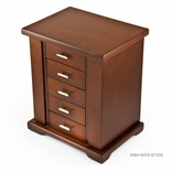 Contemporary 22 Note Natural Wood Finish Spacious Musical Jewelry Box with Silver Hardware